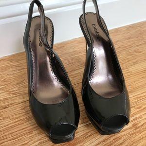 Bebe Open Toe Slingback Black Patent Heels